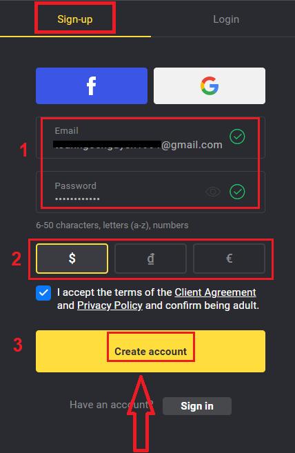 كيفية التسجيل وتسجيل الدخول الحساب في Binomo
